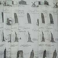 Тюль с рисунком Лён Вояж (белый + чёрный)