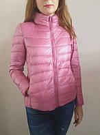Демисезонная женская куртка, наполнитель гусиный пух. Цвет розовый, рр. S, M.