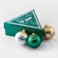 Подарочный набор из елочных шаров в треугольной картонной коробке с логотипом. , фото 1