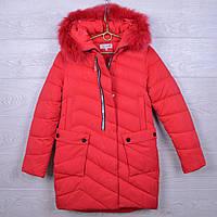 """Подростковое пальто зимние """"NOVA ClubI"""" #H36 для девочек. 10-14 лет. Красное. Оптом."""