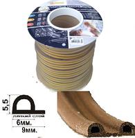 Уплотнитель P-профиль 9*5.5 мм коричневый (100м)