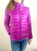 Демисезонная женская куртка, наполнитель гусиный пух. Цвет фиолетовый, рр. S, M