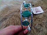 Браслет с изумрудом. Браслет-манжет с камнем изумруд +жемчуг (Индия) в серебре., фото 5