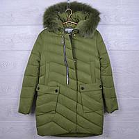"""Подростковое пальто зимние """"NOVA ClubI"""" #H36 для девочек. 10-14 лет. Зеленое. Оптом."""