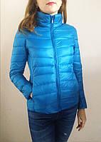 Демисезонная женская куртка, наполнитель гусиный пух. Цвет голубой, р. S.