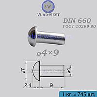 Заклепка з півкруглою голівкою сталева Ø4x9 DIN 660 (ГОСТ 10299-80) під молоток