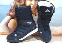 Ботинки женские Adidas climaproof (реплика) синие 40 р.