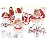 Коляска 80215 для куклы, классика, 90-45-80 см, корзина, сумка, подушка