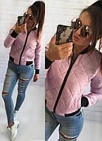 Демисезонная стёганная женская куртка бомбер с карманами розовая S M L, фото 1