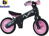 Велосипед (беговел) BELLELLI B-Bip обучающий 2-5лет, пластмассовый, чёрный с розовыми колёсами