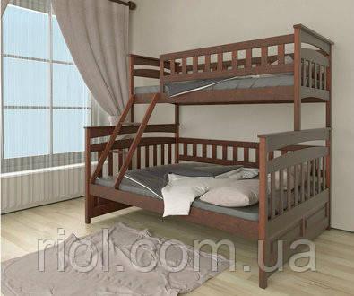Двухъярусная кровать трансформер Русалонька из массива бука