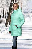 Жіноче напів-пальто м'ята, блакитна, фото 3