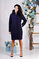 Женское демисезонное темно-синее пальто В-981 Aрт.1606 Тон 41 52-54 размер