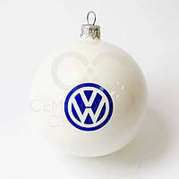 Шарик новогодний, Д 100 мм, цвет белый глянцевый с нанесением логотипа