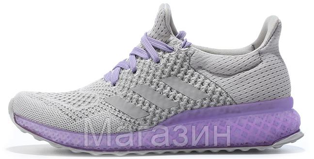 Женские кроссовки Adidas Ultra Boost FutureCraft 3D Grey Purple (Адидас Ультра Буст) серые