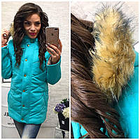 Стильная утеплённая женская куртка теплая зима БЕЛЫЙ, МЯТА, ПЕРСИК