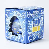 Шарик новогодний, Д 100 мм, цвет синий с нанесением логотипа