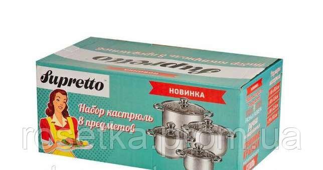 Набір каструль з нержавіючої сталі Supretto 8 предметів для всіх типів плит, фото 1