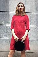 Коктейльное платье из жаккардового трикотажа П214