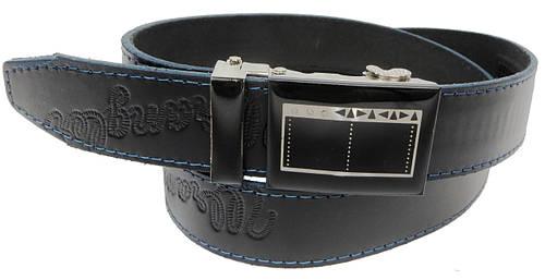 Брючный мужской кожаный ремень Skipper 5595-1 черный ДхШ: 124х3,5 см.