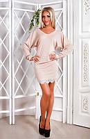 Женское стильное платье из вискозы с кружевом снизу (3 цвета)
