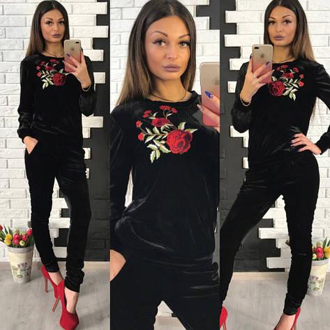 Красивый, женский костюм из бархата кофта + узкие штаны, декорирован цветочной, вышитой аппликацией , фото 2