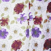 Тюль с рисунком Лён Флоренция (белый + фиолетовый)