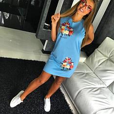 """Модное, симпатичное платье-мини с цветочным принтом """"Flowers"""""""