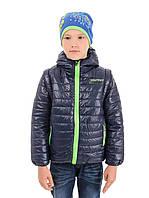 Детская демисезонная куртка - жилетка на мальчика синяя, флис, р.110,122,128