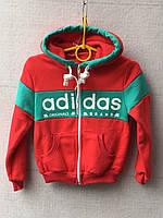 Детская спортивная кофта для девочки на флисе Adidas (4 - 7 лет) купить оптом в Украине