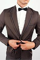 Стильный пиджак с контрастными вставками Коричневый