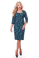 Нарядное платье больших размеров Катрин-атлас изумруд