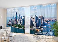 """Фото Шторы в зал """"Нью-Йорк вид с облаков"""" 2,7м*3,5м (2 половинки по 1,75м), тесьма"""