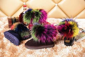 """Модные, гламурные угги """"С разноцветным мехом енота"""" РАЗНЫЕ ЦВЕТА, фото 2"""