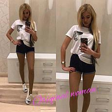 Выразительная женская футболка (хлопок, свободный крой, короткие рукава, пайетки) РАЗНЫЕ ЦВЕТА!, фото 3