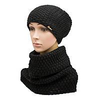 Комплект вязанный шапка + снуд