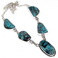 Нежное ожерелье - натуральная хризоколла в серебре.