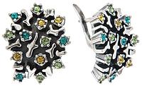 """Серьги """"Мускус"""" с кристаллами Swarovski, покрытые серебром (h8443130)"""