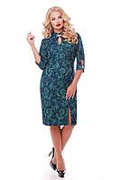 Нарядное платье больших размеров Лира изумруд