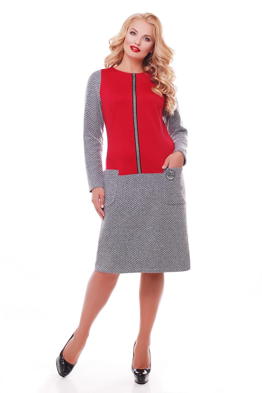 Теплое платье больших размеров Кэти букле бордо 58 - DS Moda - женская одежда от производителя в Харькове
