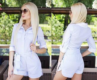 Стильный, женский, летний комбинезон с шортами(коттон в мелкую полоску)  42-60р , фото 2