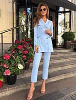 Стильный женский костюм (креп костюмка Барби, узкие брюки-капри, удлиненный двубортный жакет) РАЗНЫЕ ЦВЕТА!