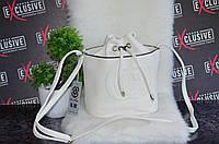 Белая сумочка в стиле Gucci гуччи на завязку.