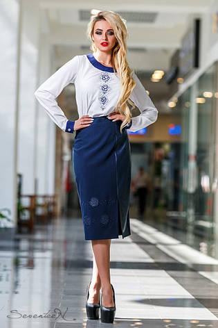 Модная женская блуза (софт, гипюр, длинные рукава, вышивка), фото 2