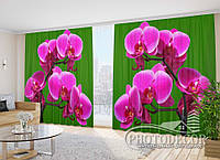 """Фото Шторы в зал """"Малиновые орхидеи на зеленом фоне"""" 2,7м*3,5м (2 полотна по 1,75м), тесьма"""