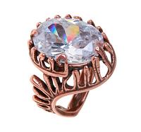 """Кольцо """"Экрен"""" с фианитом, покрытое медью (r357u0a0)"""