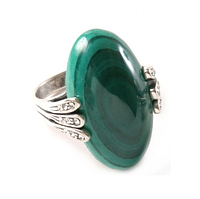 """Кольцо """"Вернисаж"""" с малахитом, покрытое серебром (a29630m0)"""