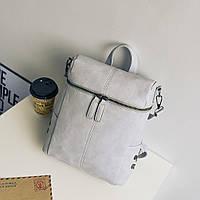 Сумка рюкзак женская матовая с заклепками по бокам (серая), фото 1