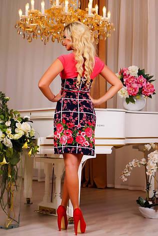 """Женское легкое платье с цветочным принтом """"Клетка"""", фото 2"""