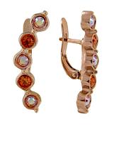 """Серьги """"Суфле"""" с кристаллами Swarovski, покрытые золотом (e143p110) изнутри изменен цвет мет. на одной серьге"""
